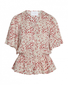 Sisters Point Ulli-SS Red Flower Bluse